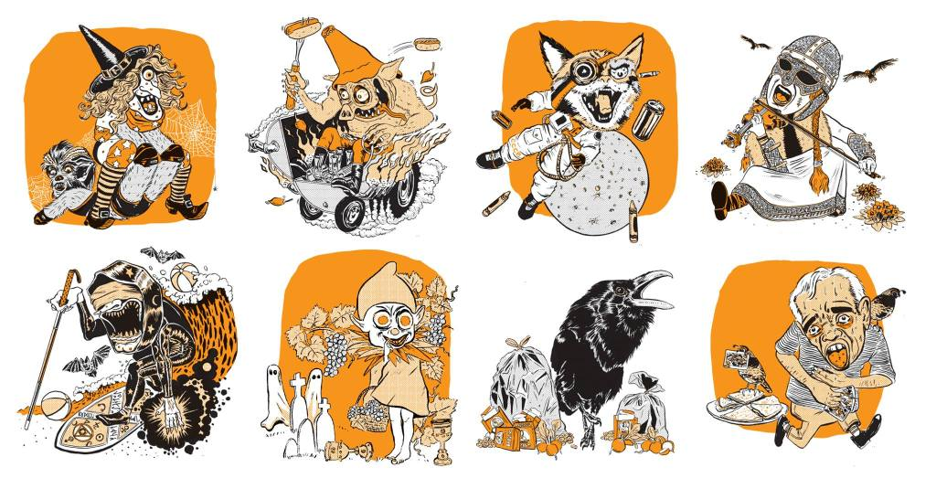 A selection of the illustrations found in The Incredibly Strange ABCs by Tommy Bishop